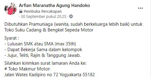 Lowongan Pramuniaga Toko Suku Cadang & Bengkel Sepeda Motor di Wates Yogyakarta